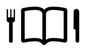 Icons of an open book with fork and knife aside, comer un libro